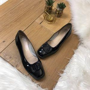 Salvatore Ferragamo Black Patten Shoes